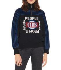women's sandro intarsia knit quarter zip sweater, size 4 - black