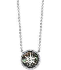 "disney frozen 2 snowflake abalone pendant necklace in fine silver plate, 16"" + 2"" extender"