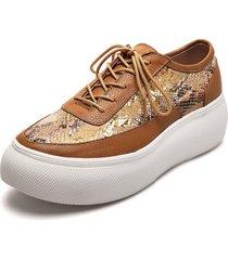 zapato casual miel por folia pitón lorena herrera