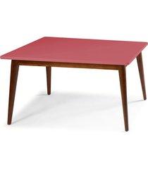 mesa de madeira retangular 140x90 cm novita 609 cacau/rosa new - maxima