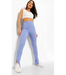 wijd geribbelde leggings met split, blue