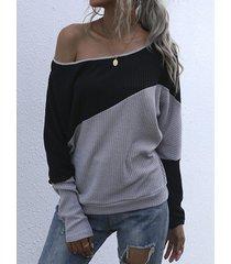 camicetta da donna in maglia di base sexy con spalle scoperte a contrasto