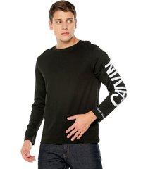 camiseta manga larga negra-blanca calvin klein