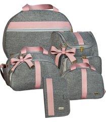 conj bolsas 5 pc lyssa baby linho cinza e rosé