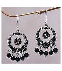 gold accented onyx chandelier earrings, 'dotted moons' (indonesia)