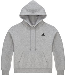 converse sudadera con capucha embroidered star chevron pullover grey