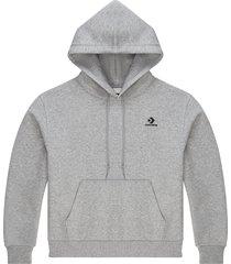 converse sudadera con capucha embroidered star chevron pullover grey