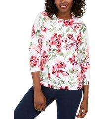 karen scott petite floral-print cardigan, created for macy's
