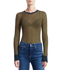 raina lurex striped crewneck sweater