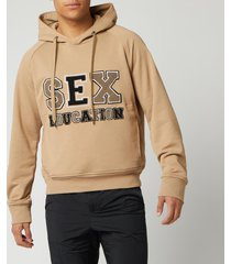 neil barrett men's sex education hoodie - biscuit/clay/ black - s