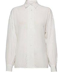 d2. drapy puff sleeve shirt overhemd met lange mouwen wit gant