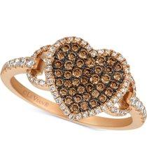 le vian chocolatier diamond heart statement ring (1/2 ct. t.w.) in 14k rose gold