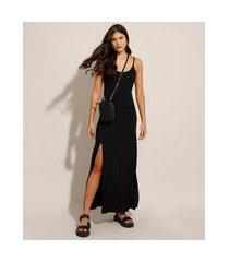 vestido básico com fenda longo alça fina preto