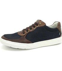 calçado sapatênis casual em couro e lona kéffor cor café e marinho - kanui