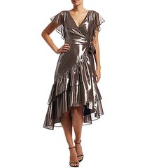dita metallic asymetric wrap dress