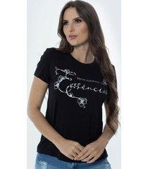 t-shirt daniela cristina gola u 02 602dc10277 preto - preto - pp - feminino