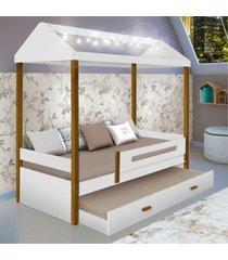bicama montessoriana casinha com cordã£o de luz casah - branco - dafiti