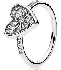 925 sterling silver heart of winter with clear cz ring  qjcb1387