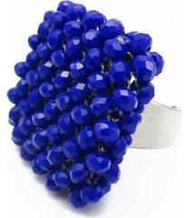 anillo en cristal azul