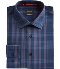 buffalo david bitton men's slim-fit yarn-dyed navy blue/gray plaid dress shirt