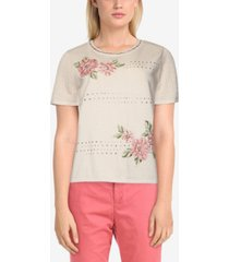 alfred dunner women's missy springtime in paris embroidered flowers sweater