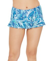 women's la blanca sketched leaves ruffle skirted bikini bottoms, size 16 - blue