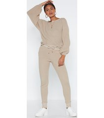 womens puff sleeve knit sweater and matching joggers set - oatmeal