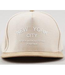boné masculino new york aba reta em suede com bordado bege claro