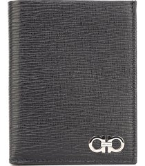 salvatore ferragamo compact wallet in textured leather with iconic gancino logo