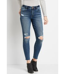 maurices womens jeans vintage high rise raw hem jegging blue denim