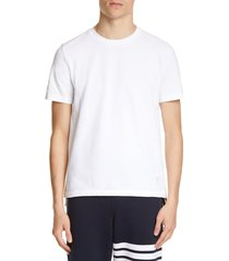 men's thom browne stripe crewneck t-shirt, size 3 - white