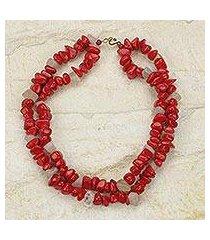 agate beaded necklace, 'red velvet' (ghana)