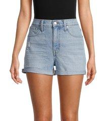 madewell women's high-waist distressed denim shorts - blue - size 28 (4-6)