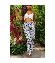 trendy zomer broek met polka stippen wit