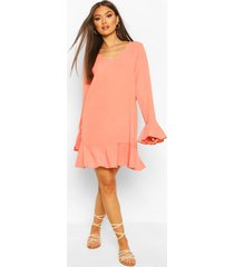 frill hem shift dress, coral