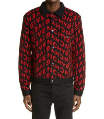 men's givenchy refracted logo jacquard wool sweater jacket, size x-large - black