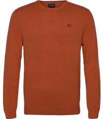 bradley organic cotton crew neck sweater gebreide trui met ronde kraag oranje lexington clothing
