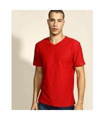 camiseta masculina básica flamê manga curta gola v vermelha