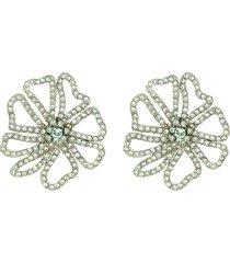 swarovski crystal pavé floral earrings