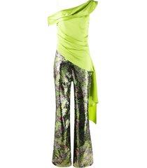 halpern one shoulder sequin-embellished jumpsuit - green