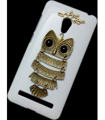 cute retro bronze metal owl branch hard back case for asus zenfone 5 lite a502cg