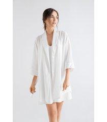 kimono m 3/4 en viscosa y satin 1503012l off white 100%viscosa  options intimate