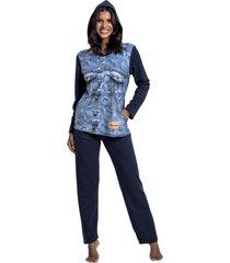pijama recco comprido de moletinho azul