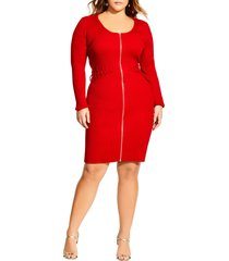 plus size women's city chic corset long sleeve sweater dress
