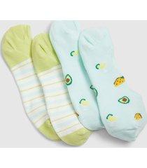 lane bryant women's 2-pack no-show socks - stripes & tacos onesz serenity