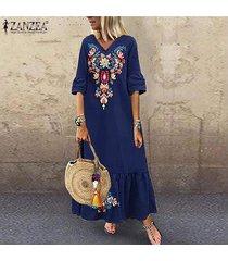 zanzea vestidos v para mujer floral cuello largo vestido de la playa de las señoras de vacaciones vestido de tirantes party -azul marino