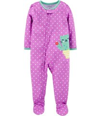 carter's baby girl 1-piece cat cactus poly footie pjs