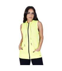 colete feminino fitness dry fit bolso e capuz com zíper orbis