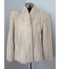 intrigue by glenoit coat ivory faux vegan fur union made vintage sz 13 m l