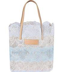 ermanno scervino logo patch floral lace shopper bag